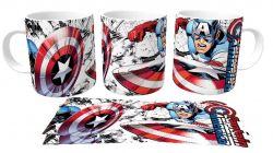 Caneca Porcelana  Capitão América quadrinhos
