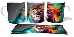 Caneca Porcelana Leão colorido
