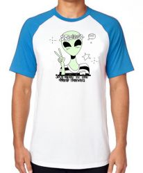 Camiseta Raglan Alien say hello to the dumb humans