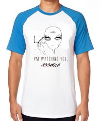 Camiseta Raglan aliens watching you asshole
