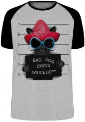 Camiseta Raglan Bad Dog cachorro cão Police Dept