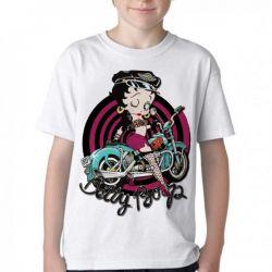 Camiseta Infantil Betty Boop moto