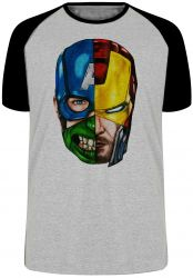 Camiseta Raglan Vingadores cabeça