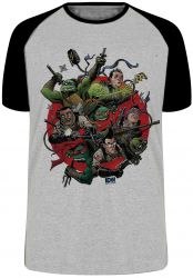 Camiseta Raglan Caça Fantasmas Tartarugas Ninja