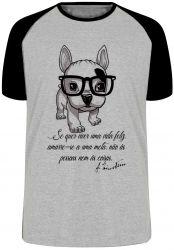 Camiseta Raglan Cachorro Nerd Frase Einstein