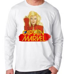 Camiseta Manga Longa Capitã Marvel
