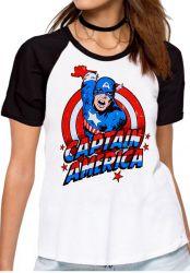 Blusa Feminina Capitão América Cartoon