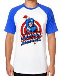 Camiseta Raglan Capitão América Cartoon