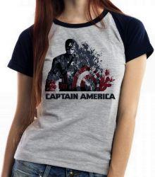 Blusa Feminina Capitão América Desintegrando