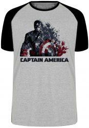 Camiseta Raglan Capitão América Desintegrando