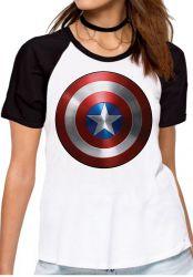 Blusa Feminina Capitão América Escudo Marvel