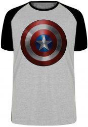 Camiseta Raglan Capitão América Escudo Marvel
