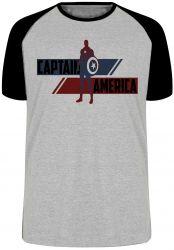 Camiseta Raglan Capitão América  Listra Vingadores