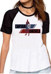 Blusa Feminina Capitão América  Listra Vingadores