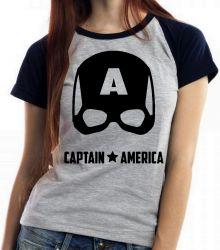 Blusa Feminina Capitão América  Máscara Black