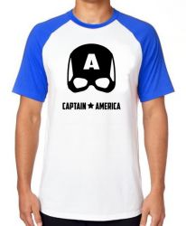Camiseta Raglan Capitão América  Máscara Black