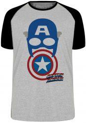 Camiseta Raglan Capitão América  Máscara Escudo