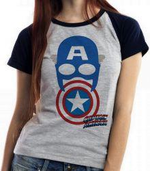 Blusa Feminina Capitão América  Máscara Escudo