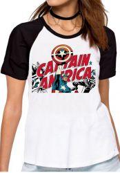 Blusa Feminina Capitão América  Super Herói