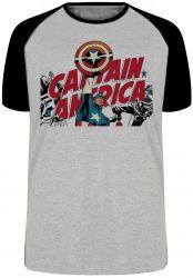 Camiseta Raglan  Capitão América  Super Herói