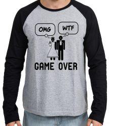 Camiseta Manga Longa Casamento Game Over