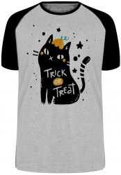Camiseta Raglan Cat trick treat