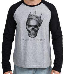 Camiseta Manga Longa Caveira Coroa