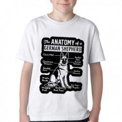 Camiseta Infantil Anatomia Pastor Alemão