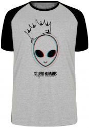 Camiseta Raglan Alien stupid humans