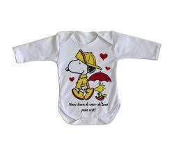Roupa Bebê manga longa Chuva de Amor de Deus Snoopy