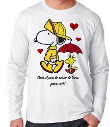 Camiseta Manga Longa  Chuva de Amor de Deus Snoopy