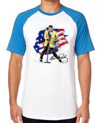 Camiseta Raglan Elvis Presley bandeira EUA