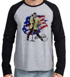 Camiseta Manga Longa Elvis Presley bandeira EUA