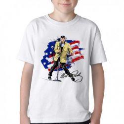 Camiseta Infantil Elvis Presley bandeira EUA