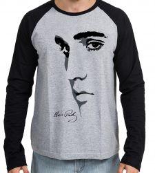 Camiseta Manga Longa Elvis Presley Rei do Rock