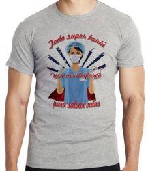 Camiseta Enfermeira super herói salvar vidas