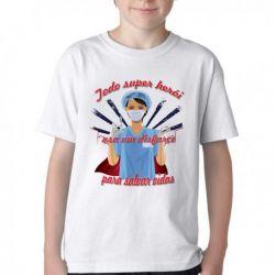 Camiseta Infantil Enfermeira super herói salvar vidas