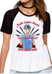 Blusa Feminina Enfermeira super herói salvar vidas
