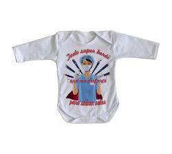 Roupa Bebê manga longa Enfermeira super herói salvar vidas