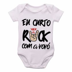 Roupa  Bebê Eu curto rock com a vovó