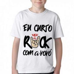 Camiseta Infantil Eu curto rock com a vovó
