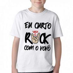 Camiseta Infantil Eu curto rock com o vovô