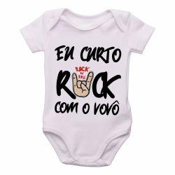 Roupa  Bebê Eu curto rock com o vovô