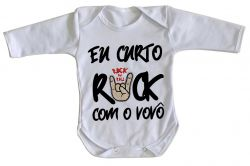 Roupa Bebê manga longa Eu curto rock com o vovô