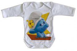Roupa Bebê manga longa  Smurf do céu
