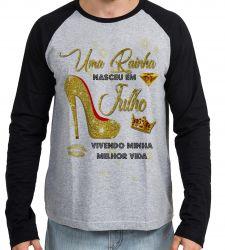 Camiseta Manga Longa Uma rainha nasceu