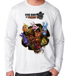 Camiseta Manga Longa Five Nights at Freddy's Personagens