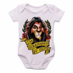 Roupa Bebê Rei Leão Scar cercado por idiotas