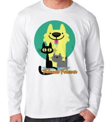 Camiseta Manga Longa Pets Friend Forever