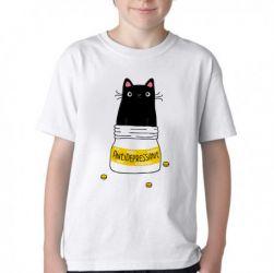 Camiseta Infantil Gatinho antidepressivo
